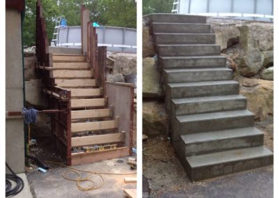 10 tread stairway formed into a stone retaining wall