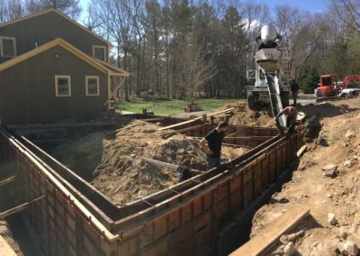 Oversized three car garage project in Richmond. Excavation, footing and walls, drainage and floor5